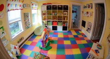 kids playroom design ideas through fish eye lens