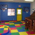 kids playroom design ideas with two basketball hoops