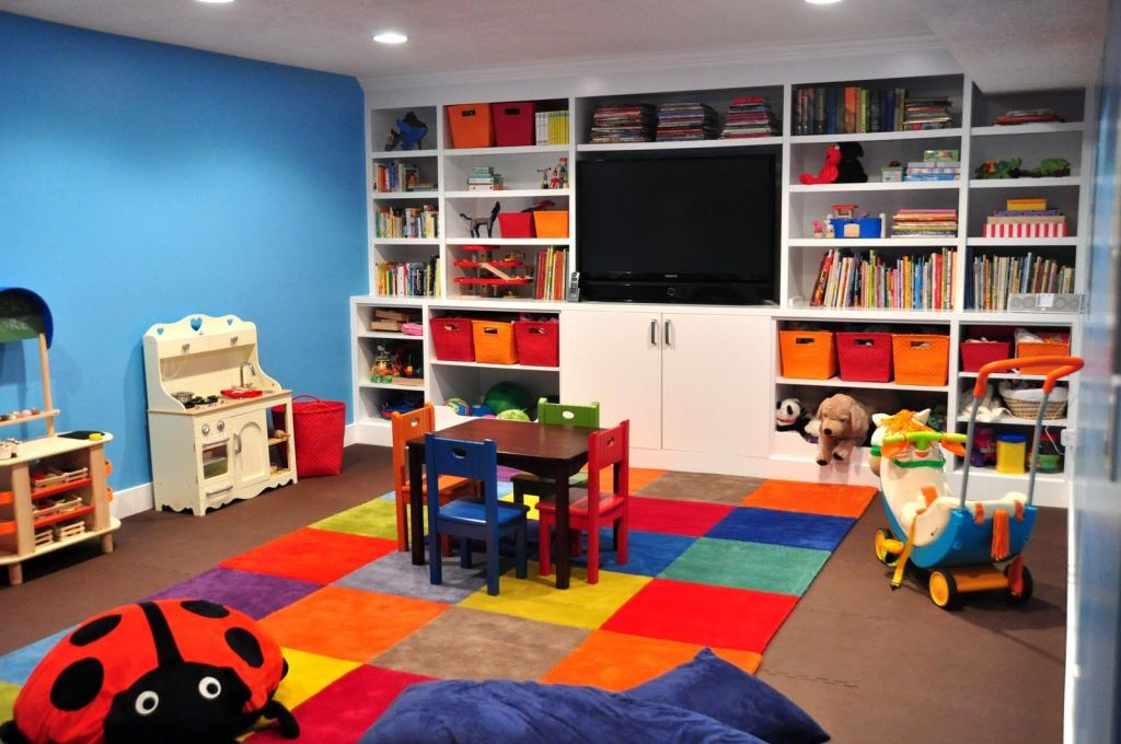 kids playroom design ideas with wall shelves