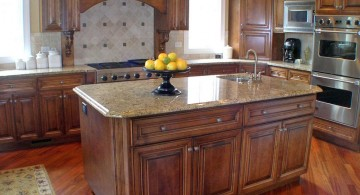 kitchen island with sink from cherry wood