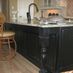 kitchen island with sink with silver turtle decoration