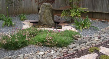 landscape fountain design ideas for rocky garden
