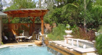landscape fountain design ideas for the poolside