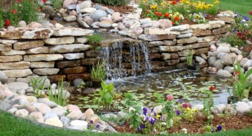 landscape fountain design ideas for wide lawn