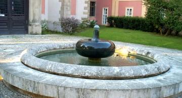 landscape fountain design ideas with stone fountain