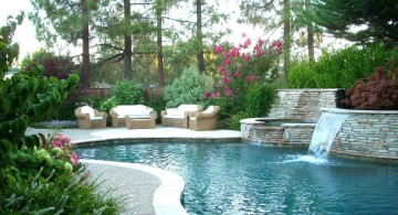 landscaping designs with big rocks as pool walls