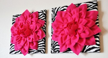 large flower in zebra print base pink and black wall decor