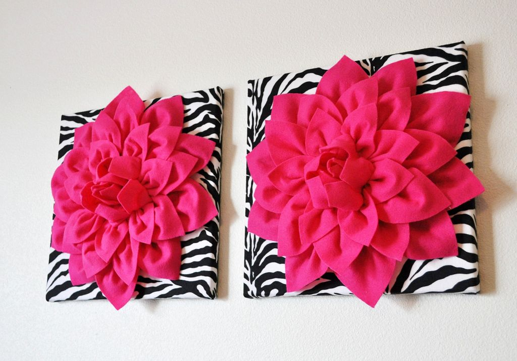 & large flower in zebra print base pink and black wall decor