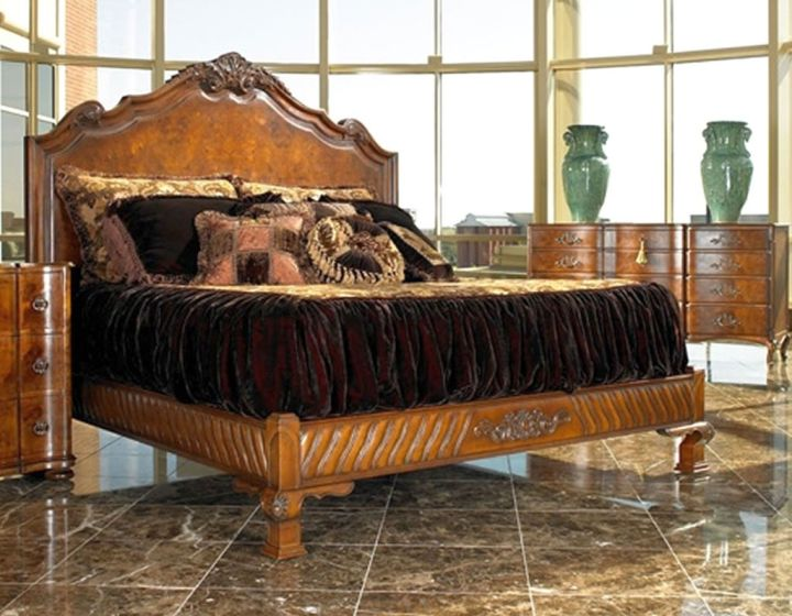large oak bed with velvet linen tuscan style bedroom furniture