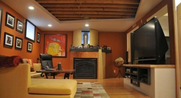 lighting ideas for basement with rustic ceiling