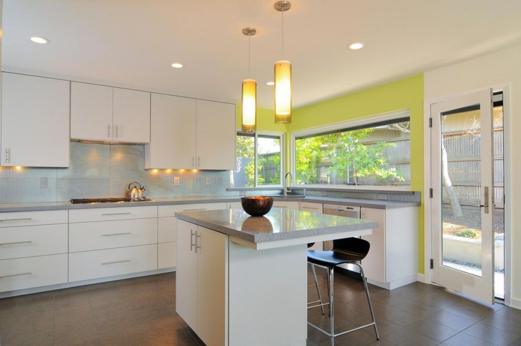Lime Green Accent Walls For Contemporary Kitchen
