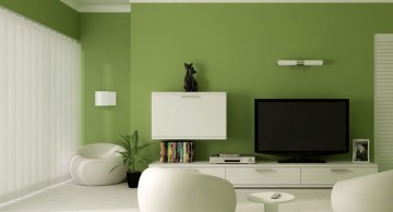 lime green accent walls for contemporary living room