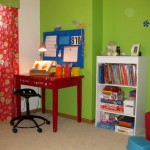 lime green accent walls for kids study room