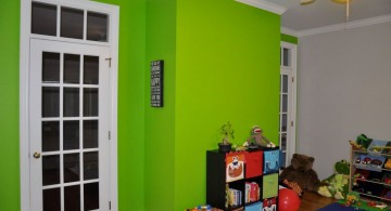 lime green accent walls for playroom