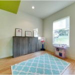 lime green accent walls with blue rug