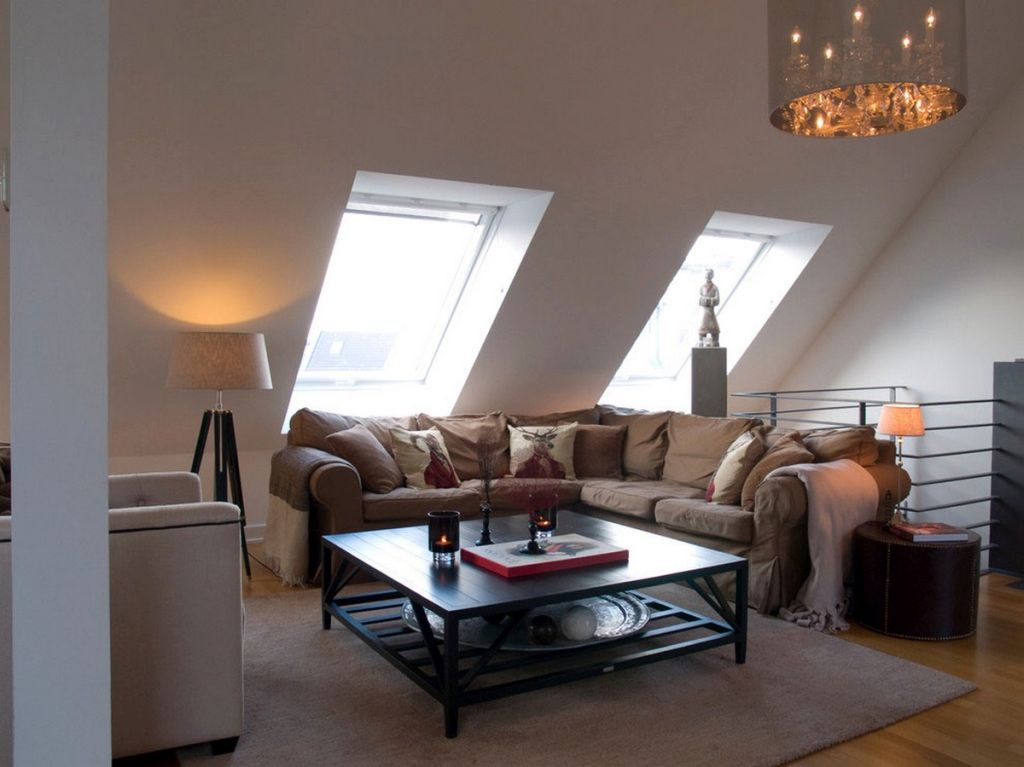 Living room with skylight ideas for attic living room for Room roof design images