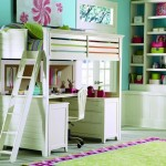 loft bed with desk white in green toned room