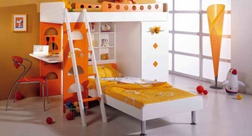 loft bed with desk white in orange