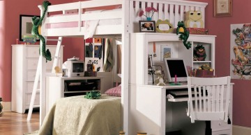 loft bed with desk white in pink room