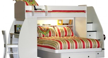 loft bed with desk white with stripes linens