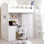 loft bed with desk whitewith cute wallpaper