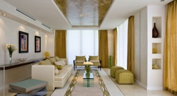 long living room ideas in gold and white color scheme