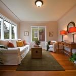 long living room ideas in soft orange light