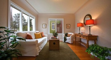 long living room ideas in soft orange light