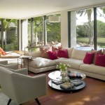 long living room ideas with low coffee table and outlooking the garden