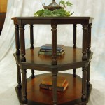 low and vintage three tiered small entry table ideas