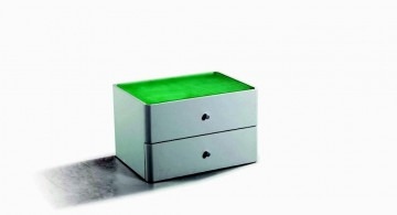 low with green glass modern nightstands white