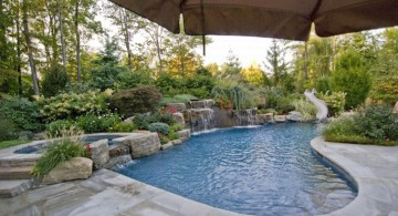 luxurious tiny swimming pools with fake waterfall