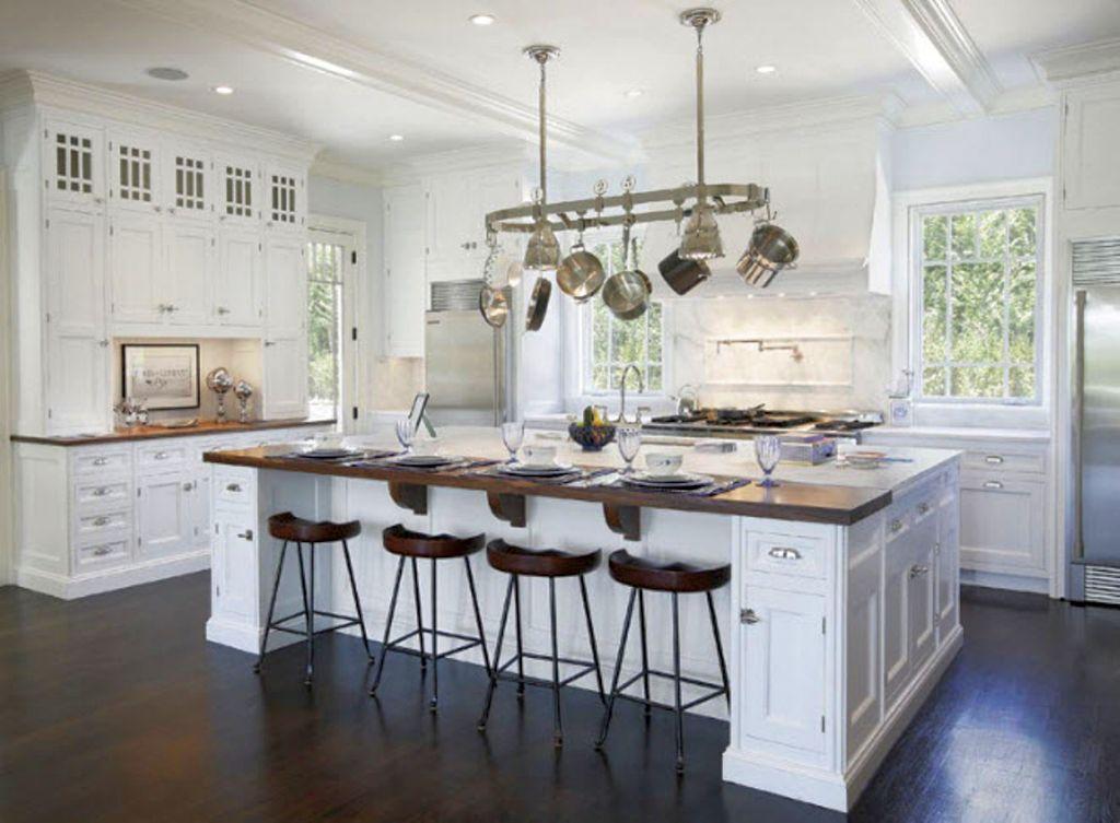 Luxurious White Kitchen Island With Sink - Stationary kitchen islands