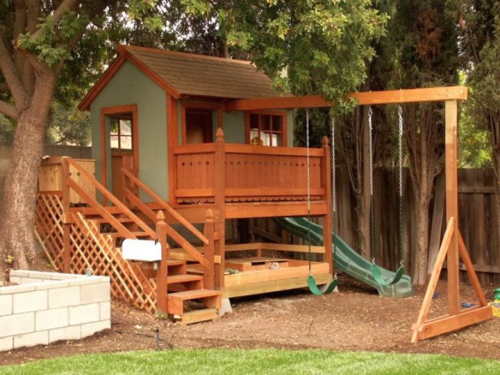 Luxury outdoor playhouse with swing and slide for Childrens playhouse with slide and swing