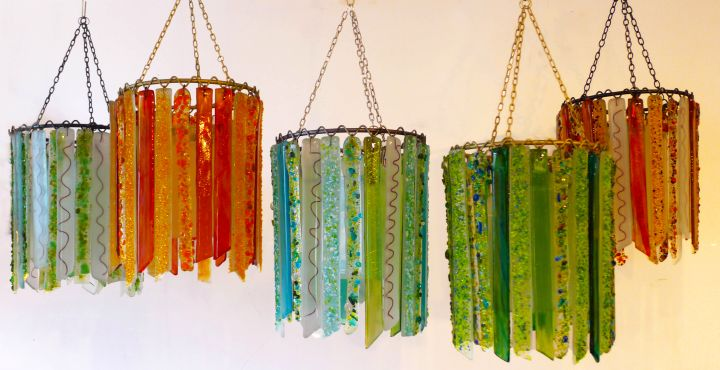 making a pendant light with colored glass