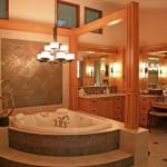 master bathroom lighting ideas with chandelier