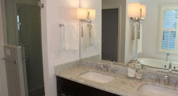 master bathroom lighting ideas with sleek lampshades
