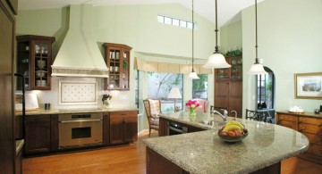 mini pendant lights over kitchen island for l-shaped marble countertop