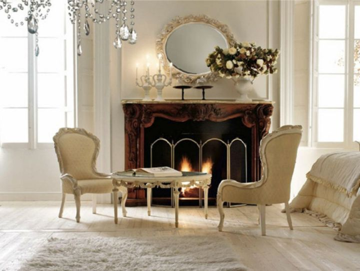 minimalist Victorian living room with fireplace
