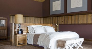 minimalist bedroom wall panel design ideas with two types of wood