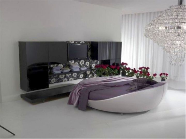 minimalist circular bed in grey and white
