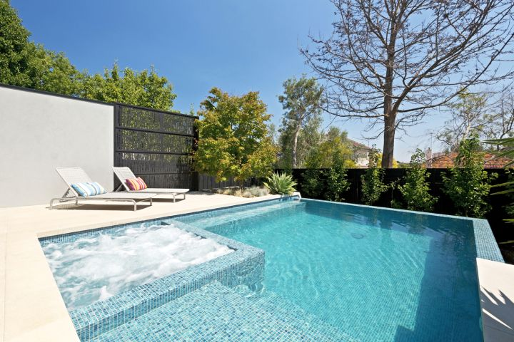 Minimalist Contemporary Pool With Spa Designs