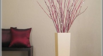 minimalist floor vase with branches in white
