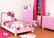 minimalist hello kity girls bedroom designs