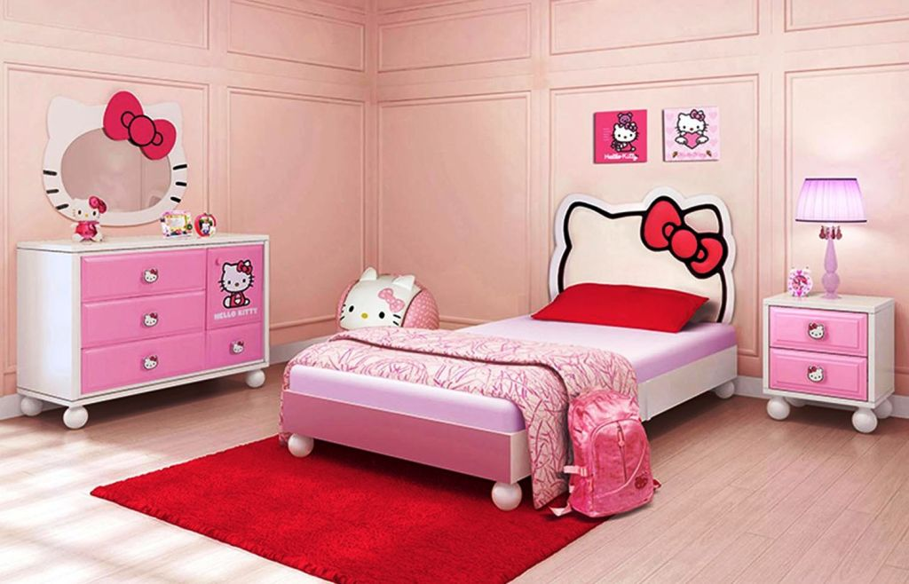 Minimalist Hello Kity Girls Bedroom Designs With Hello