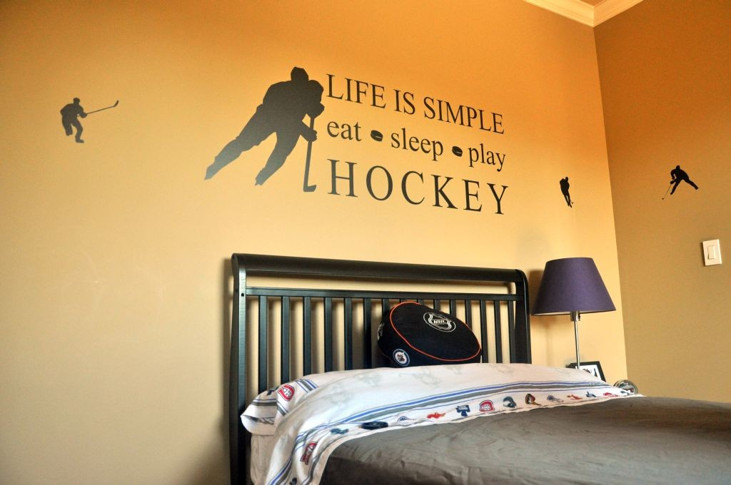 minimalist hockey bedrooms with wall decals