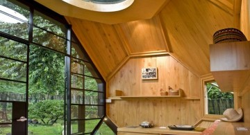 minimalist luxury outdoor playhouse outlooking the garden