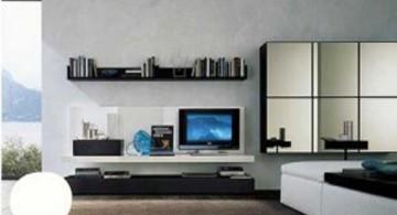 minimalist modern furniture for living room with floating shelves