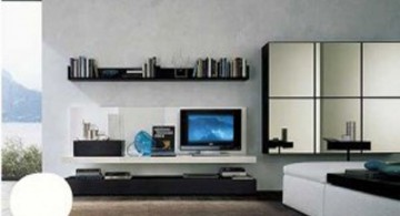 minimalist modern furniture for living room with floating shelves