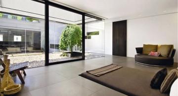 minimalist modern furniture for livingroom outlooking the garden